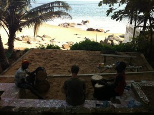 morning djembe lesson on Ile Room